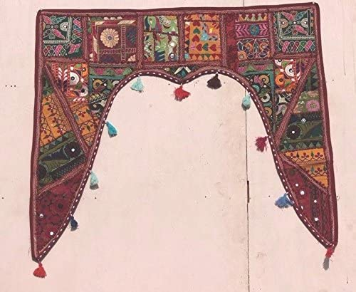 Sophia Art Christmas Decorative – Indian Ethnic Window Valance Home Decor Bandhanwar Toran Vintage Embroidered Patchwork Door Hanging Dark Red, 46 X 42 Gate Valance