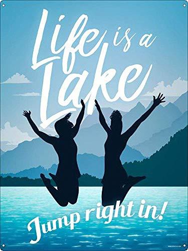 Life Is A Lake Jump Right In 注意看板メタル金属板レトロブリキ家の装飾プラーク警告サイン安全標識デザイン贈り物
