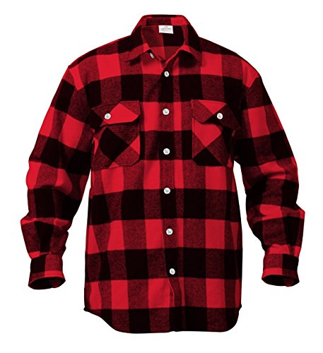 (Rothco Heavy Weight Plaid Flannel Shirt, Red, Large)