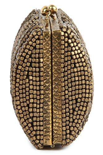 Mybatua Kylie Oro Antico Scatola Borsa Ricamata A Mano Borsa Corpo Duro Acp-449-oro