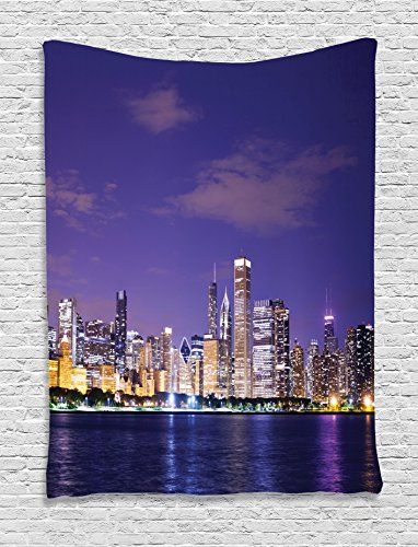 Ambesonne Apartment Decor Collection, Chicago Evening View Estate Exterior Famous Touristic Place Luxury Lifestyle Picture, Bedroom Living Room Dorm Wall Hanging Tapestry, Navy - Beach At Pictures The Broadway