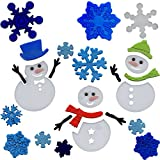 Christmas Window Clings Snowman and Snowflakes Gel Charms