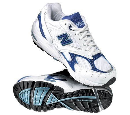 New Balance Women's W880 Running Shoes,White/Blue,10 B US by New Balance
