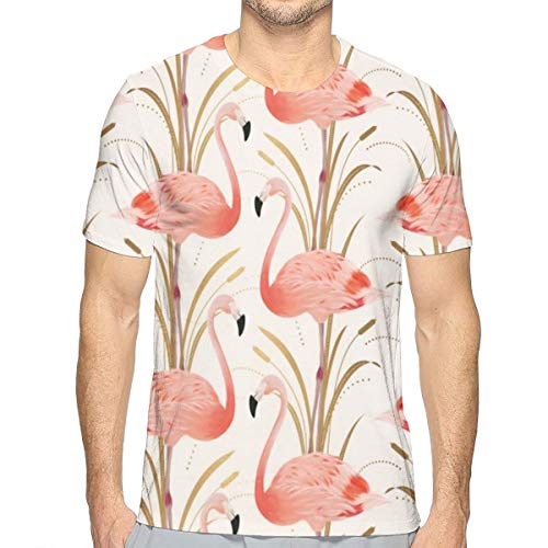 (FANTASY SPACE Men Boys Pink Flamingo Clipart Style Shirt Basic Short Sleeve Shirts Tees Big and Tall Size Summer Sportswear for Surf Holiday Golf, Crewneck, Fast Dry,)