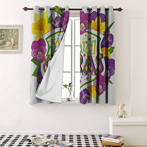 Mardi Gras Decorative Curtains for Living Room Blazon with Flourishing Colorful Flowers Coat of Arms Masquerade Holiday Theme Curtains Kids Room W72 x L72 Inch ()