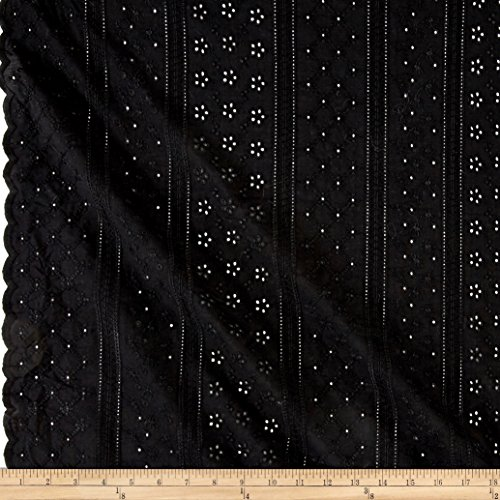 Swiss Dot Eyelet - TELIO Thea Eyelet Black Fabric By The Yard