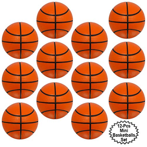 Mini Sports Balls for Kids Party Favor Toy, Soccer Ball, Basketball, Football, Baseball (12 Pack) Squeeze Foam for Stress, Anxiety Relief, Relaxation. (12 Pack (Basketballs))