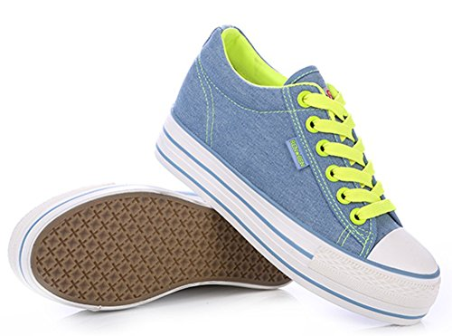 Platform Up Sneakers Lace Comfy Skate IDIFU With Canvas Heels Denim Low Top Blue Womens Heighten 4v0qFX
