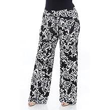 WM Women's Plus Size Printed Palazzo Pants (Black/White, 3X)