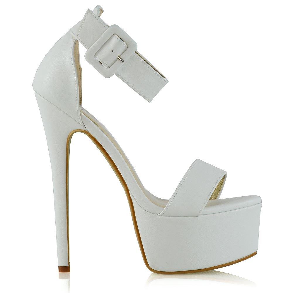 ESSEX GLAM Donna Tacco Signore Alto Le Signore Tacco Cinturino Alla Caviglia Piattaforma Fibbia Scarpe Bianco Pelle Sintetica a7f896