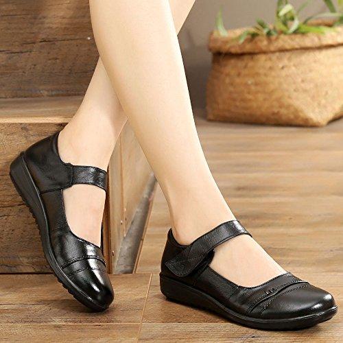 scarpe donna cuoio superficiale 40 china casuali solo soft da seven bottom conforto black Thirty bocca KPHY scarpe tacco 8AxqEHEW