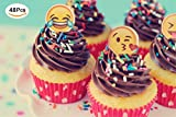 Jefferson Emoji Cupcake Toppers and Emoji Party Decorations and Supplies (Pack of 48)