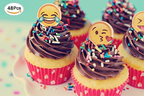 Jefferson Cup - Jefferson Emoji Cupcake Toppers and Emoji Party Decorations and Supplies (Pack of 48)