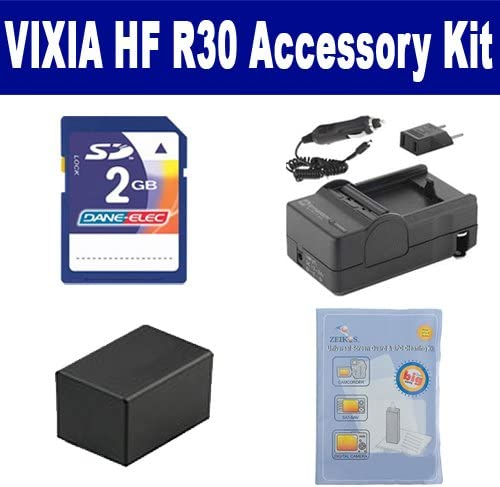 ACD786 Battery KSD2GB Memory Card Canon VIXIA HF R30 Camcorder Accessory Kit Includes: ZELCKSG Care /& Cleaning SDM-1556 Charger
