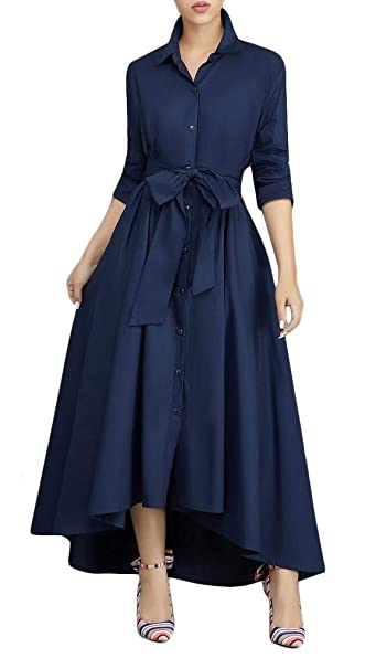 d0607853a ThusFar Navy Blue Dress for Women Button Down Collar Long Maxi Dress with  Pockets T Shirt