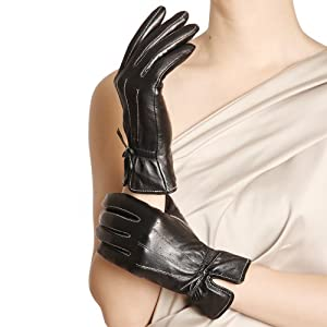 WARMEN Women's Winter Warm Hairsheep Leather Gloves Touchscreen Texting Cashmere/wool Blend Lining
