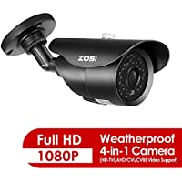 ZOSI 2.0 Megapixel HD 1080P 4-in-1 TVI/CVI/AHD/CVBS CCTV Camera Home Security Day/Night Waterproof Cameras 120ft IR Distance, Compatible for HD-TVI, AHD, CVI, and CVBS/960H analog DVR( Aluminum Housin