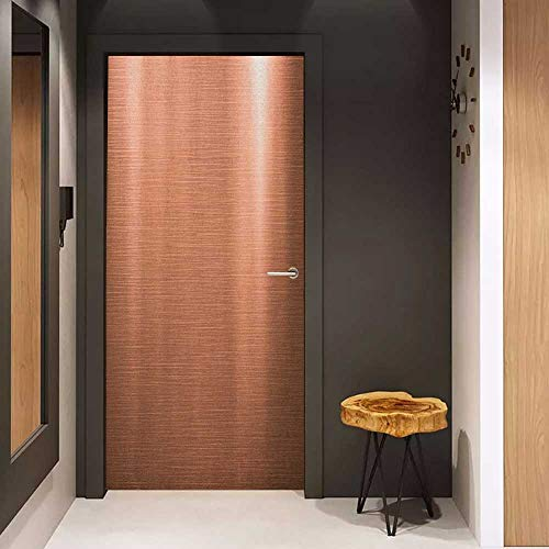 (Onefzc Soliciting Sticker for Door Abstract Indusrial Plate Facade Illustration Tough Construction Element Modern Mural Wallpaper W17.1 x H78.7 Pale Coral Chocolate)