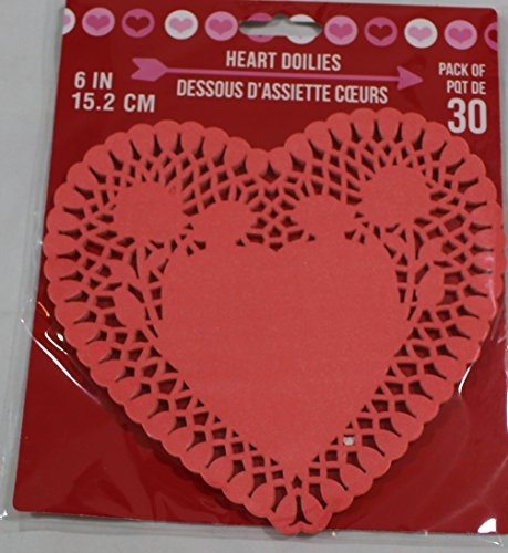 (Heart Lace-trimmed Paper Doilies, 6 Inches, Pack of 30 (Red))