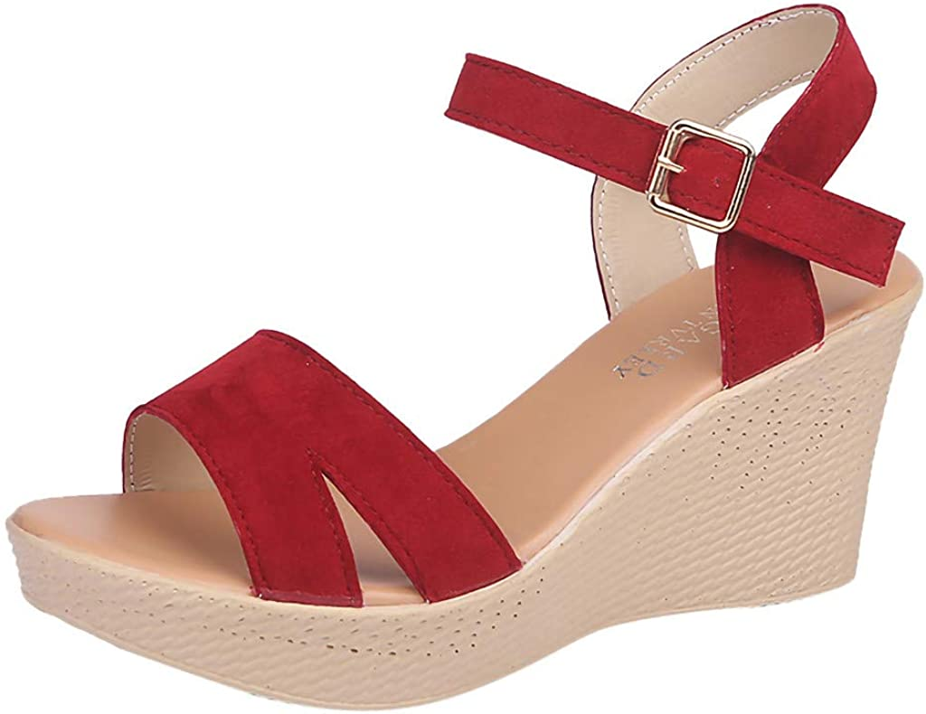 Byyong High Heel Wedge Sandals for Women Womens Leisure Buckle Shallow Mouth Round Toe Shoes Outdoor Female Sandals
