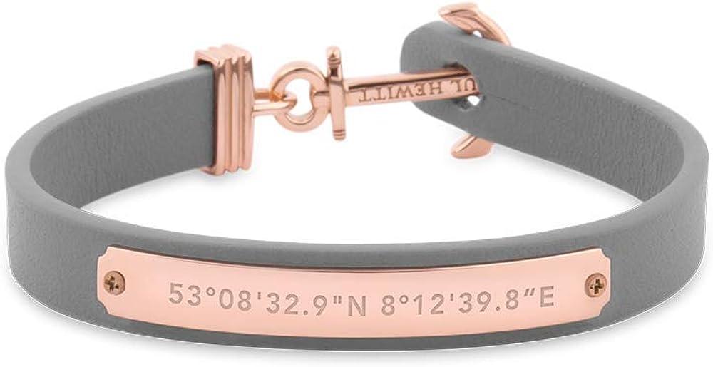 Paul Hewitt Brazalete con Ancla y Grabado de coordenadas Signum - Pulsera de Cuero Gris con Ancla para Mujer, Accesorio de Acero Inoxidable bañado en Oro Rosa
