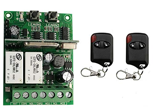 B   315 Individual Learning Code DC9V 12V 24V 10A 2CH Wireless Remote Control Switch System Receiver + cat Eye Transmitters Garage Door  (color  C, Size  433)