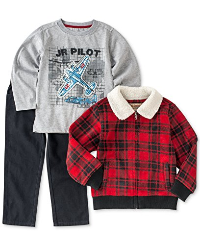 Kids Headquarters Baby Boys' 3-Piece Pilot Tee, Pants, and Buffalo Check Fleece Jacket Set, (3-6 months) (Fleece Pilot Jacket)