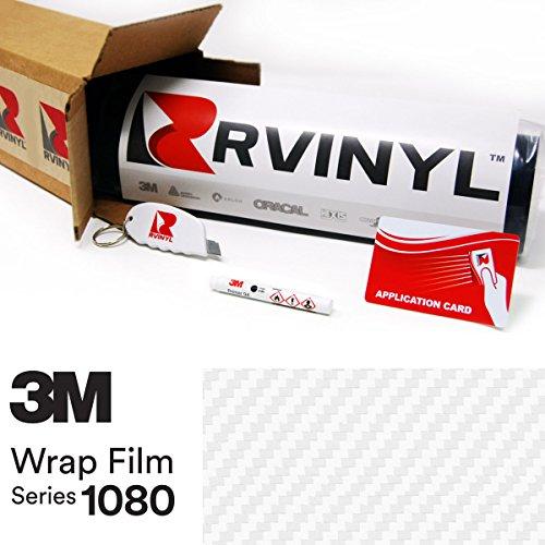 26' Carbon (3M 1080 CFS10 CARBON FIBER WHITE 5ft x 26ft W/ Application Kit Vinyl Vehicle Car Wrap Film Sheet Roll)
