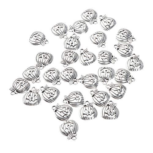 (50x Smile Face Pumpkin Pendant for Halloween Party Decoration Silver/Gold Necklace Jewelry Crafting Key Chain Bracelet Pendants Accessories Best| Color - Antique)