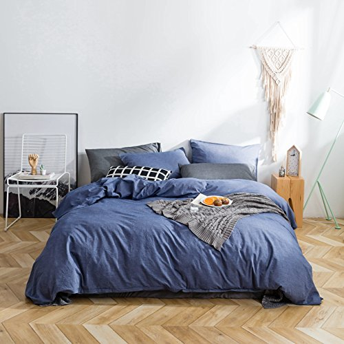 Price comparison product image SUSYBAO 3 Pieces Duvet Cover Set 100% Natural Washed Cotton Denim Blue King Size 1 Duvet Cover 2 Pillowcases Luxury Quality Durable Ultra Soft Breathable Fade Resistant Bedding Set with Zipper Ties