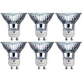 Triangle Bulbs T10293-6 (6 pack) - 50 Watt, GU10 Base, 120 Volt, MR16 With UV Glass Cover, Halogen Flood Light Bulb, Q50MR16/FL/GU10, 6 Pack