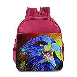 KEPan Lightweight Bookbag Eagle Hawk Oil Painting Colored Kids Backpack
