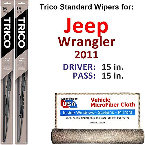 Wiper Blades for 2011 Jeep Wrangler Driver & Passenger Trico Steel Wipers Set of 2 Bundled with Bonus MicroFiber Interior Car Cloth
