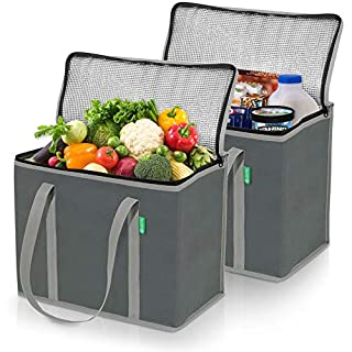XL Insulated Shopping Bags for Groceries (2-Pack) - Premium Quality Cooler Bag – Washable, Reinforced Bottom and Handles, Sturdy Zipper – Insulated Grocery Bags for hot or Cold Food, Food Delivery Bag