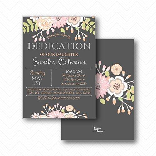 amazon com floral girl dedication invitations envelopes included
