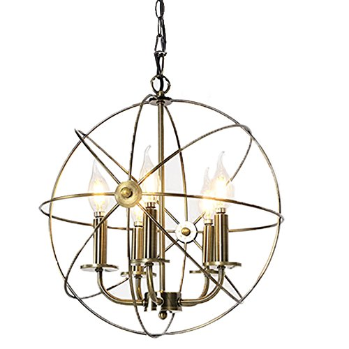 Chandeliers Lighting Industrial Style – 5 Lamp Dining Rooms, Kitchen & Living Room Chandeliers Light Bulb – Ceiling Hanging Fixture – 16″ Edison Metal Globe Shade & Bronze Finish For Sale