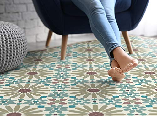 Earth tones vinyl mat with Moroccan tiles pattern.