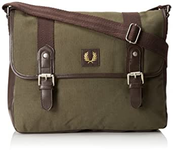 Fred Perry Men's Classic Canvas Satchel, Iris Leaf/Chocolate, One Size