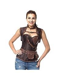 SGY Women's Steel Boned Overbust Steampunk Bustiers Corsets Costumes-2081