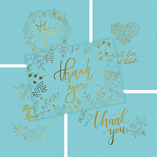 50 Thank You Cards with Gold Floral Script -