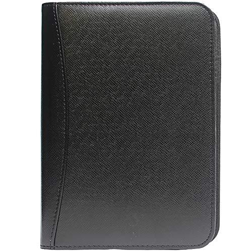 Portfolio Folder A6 Leather Padfolio Zipped Executive Conference Folder with Calculator Refillable Binder Notebook (Zipped Folder Conference)