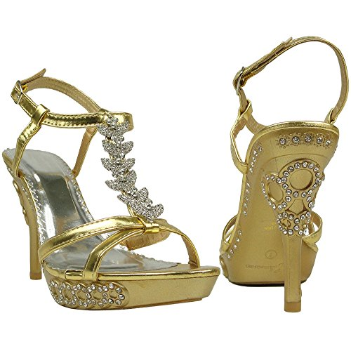 Sexy Gold Shoes (Womens' Sexy Platform High Heels Side T-Strap Rhinestone Evening Dress Sandals Gold, Size 8)