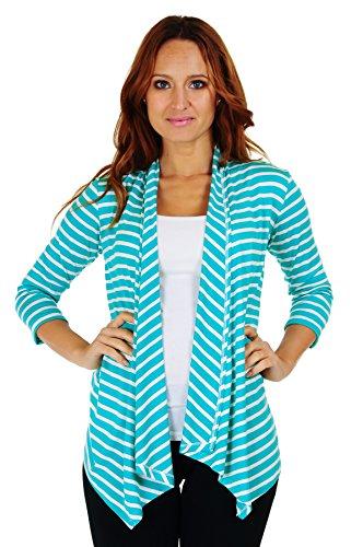 SR Women's Basic 3/4 Sleeve Stripe Open Cardigan (Size: Small-5X), 1X, Mint/Ivory