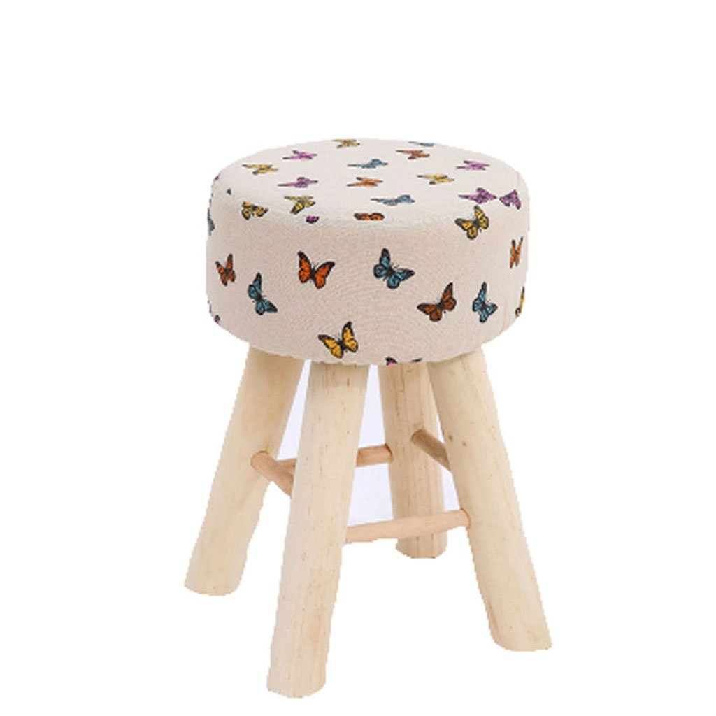 G Qwer Stool Stool Wooden Foot Linen Solid Wood Simple Modern Household Makeup (color   GREEN)
