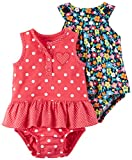 Carter's Baby Girls' 2-Pack One-Piece Romper, Red