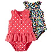 Carter's Baby Girls' 2-Pack One Piece Romper, Red Dot/Multi Floral, 12 Months