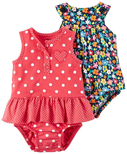 - Carter's Baby Girls' 2-Pack One-Piece Romper, Red Dot/Multi Floral, 6 Months