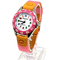Kids My First Easy Reader Wrist Watch Boys Girls Waterproof Quartz Watch with Nylon Strap (Pink)