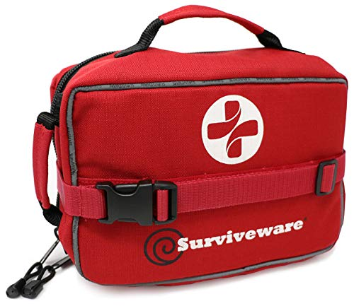 Surviveware Large First Aid Kit for Extended Camping Trips, Cars, Boats, Trucks, Office, Home and Family Use with Bonus Mini Kit by Surviveware