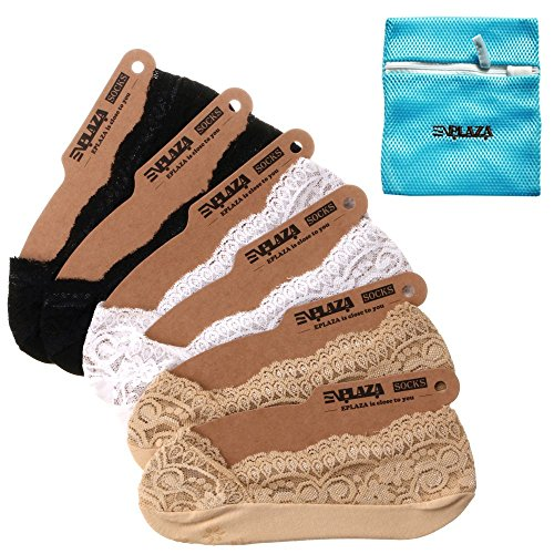 EPLAZA 6 Pairs Silicone Grip Women Lace No Show Socks Non-Skid + 1 Wash Bag (Womens Footies)